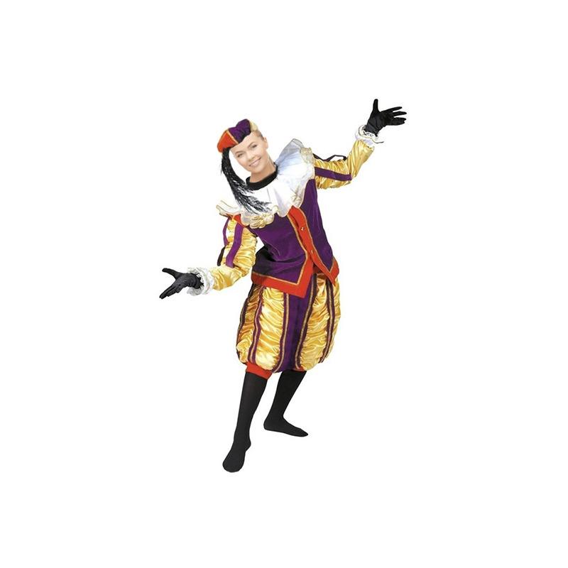 Luxe roetveeg Pieten kostuum geel/paars voor dames en heren