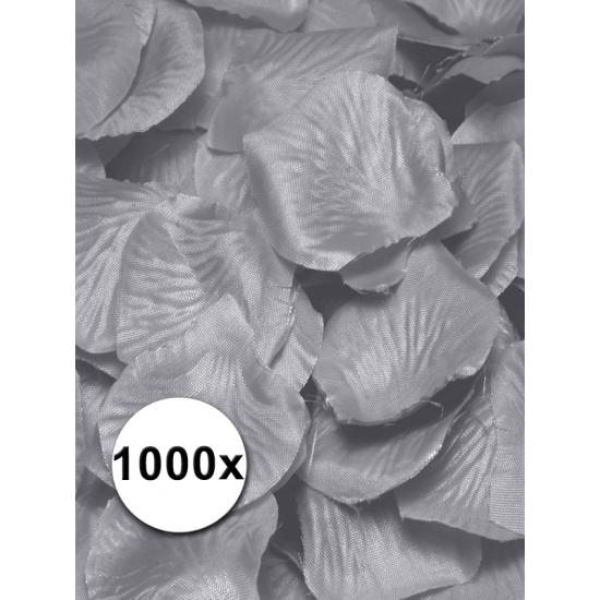 Luxe zilveren rozenblaadjes 1000 stuks