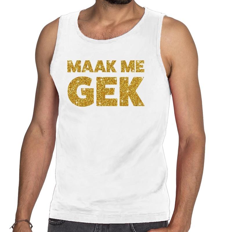 Maak me Gek glitter tanktop - mouwloos shirt wit heren