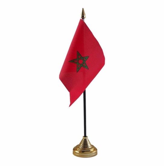 Marokko tafelvlaggetje 10 x 15 cm met standaard