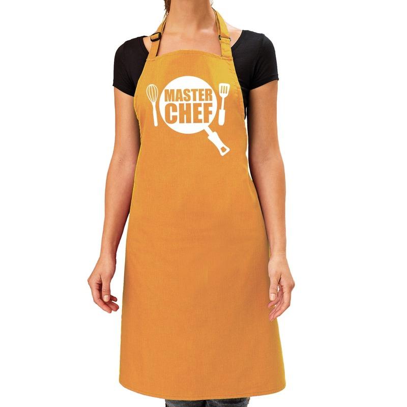 Master chef barbeque schort - keukenschort oker geel dames