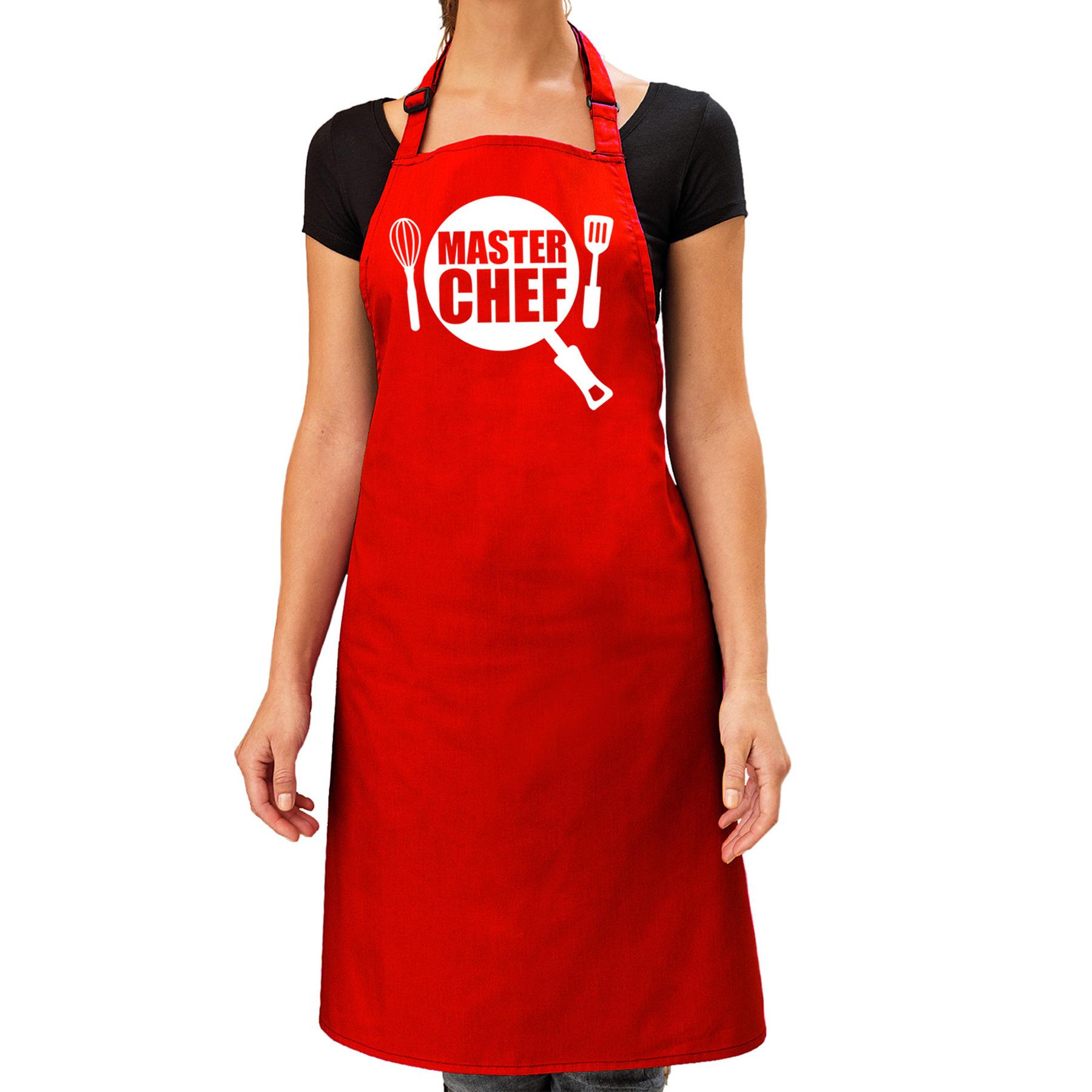 Master chef barbeque schort - keukenschort rood dames