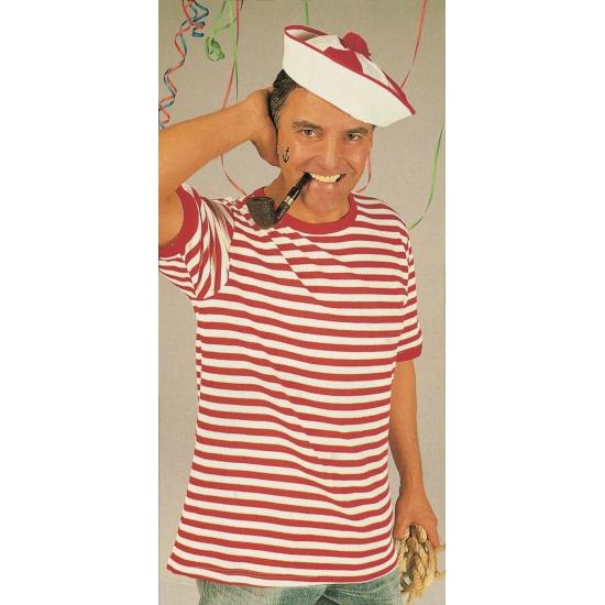 Matrozen shirt rood met wit korte mouwen verkleedkleding
