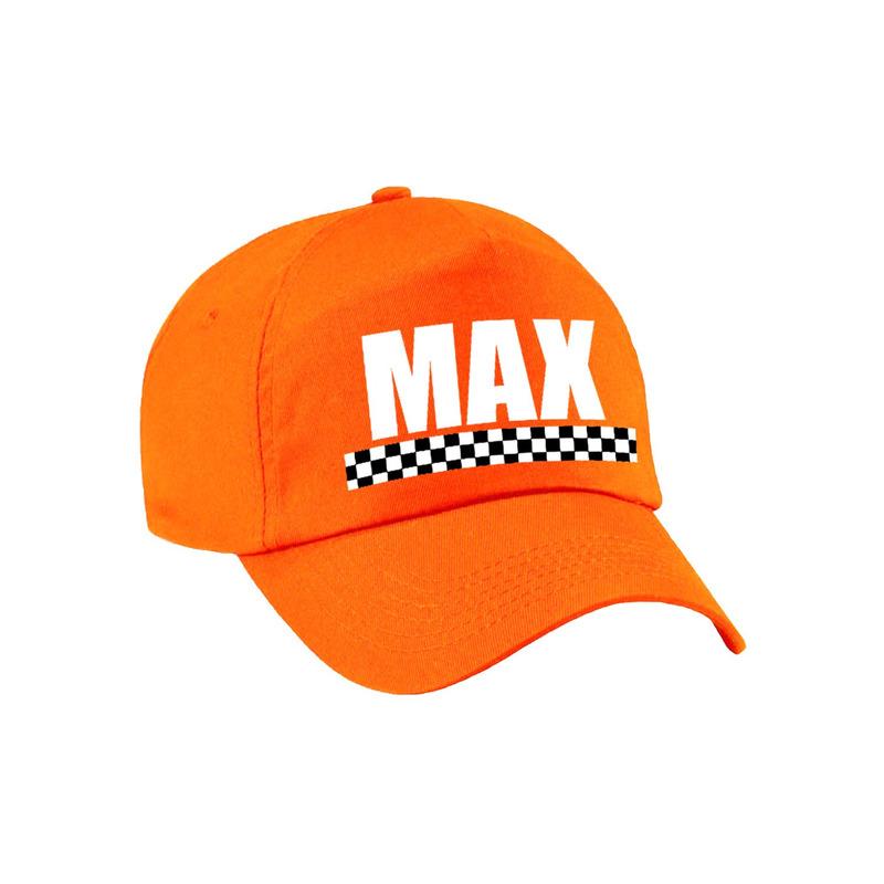 Max - finish vlag verkleed pet oranje voor kinderen