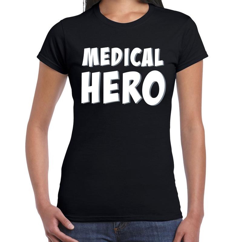 Medical hero - zorgpersoneel cadeau t-shirt zwart voor dames
