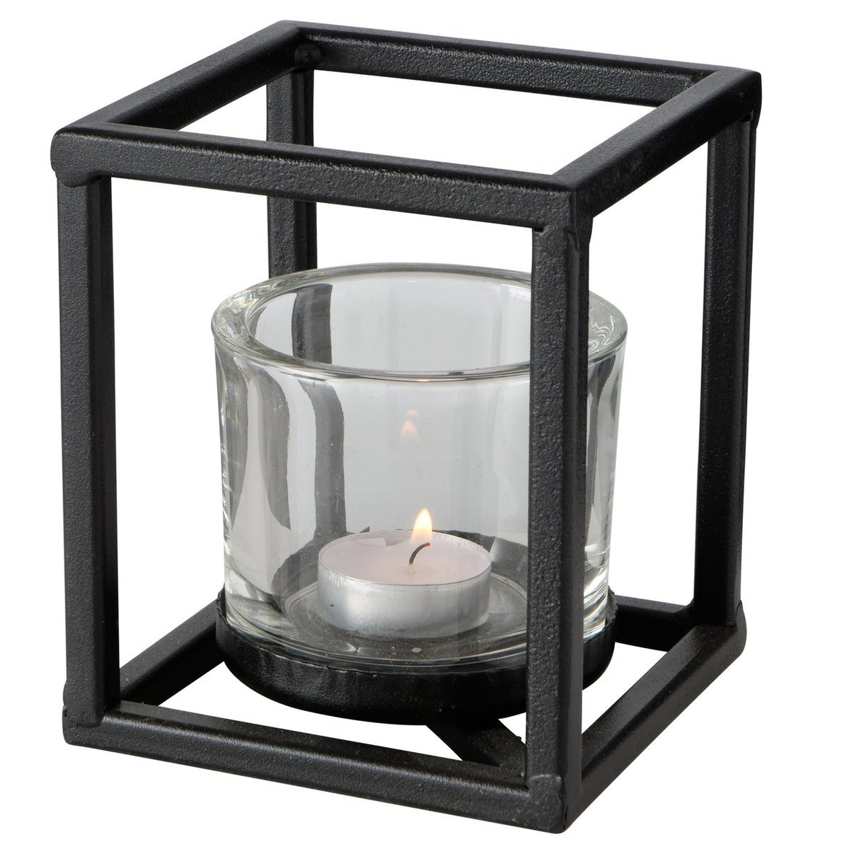 Metalen design kaarsenhouder-windlicht zwart 12 x 14 cm