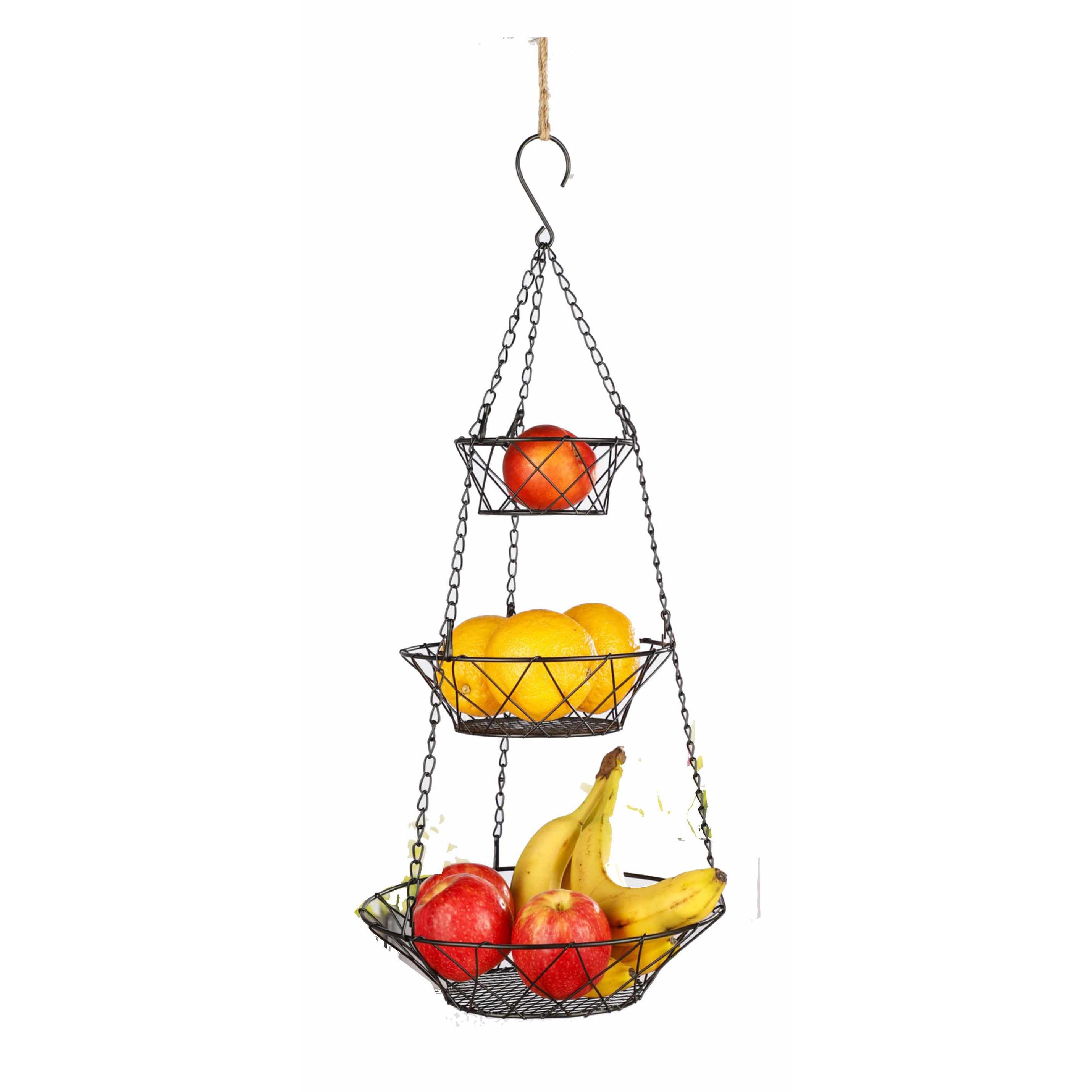 Metalen hang etagere fruitetagere met 3 ronde manden 67 cm