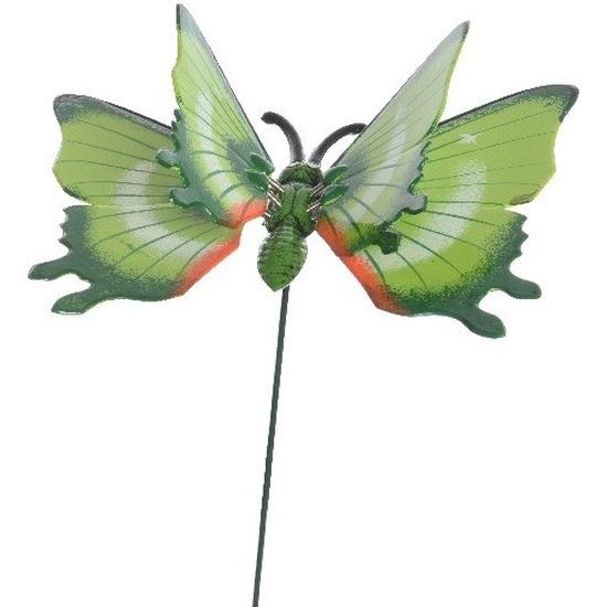 Metalen vlinder groen 17 x 60 cm op steker