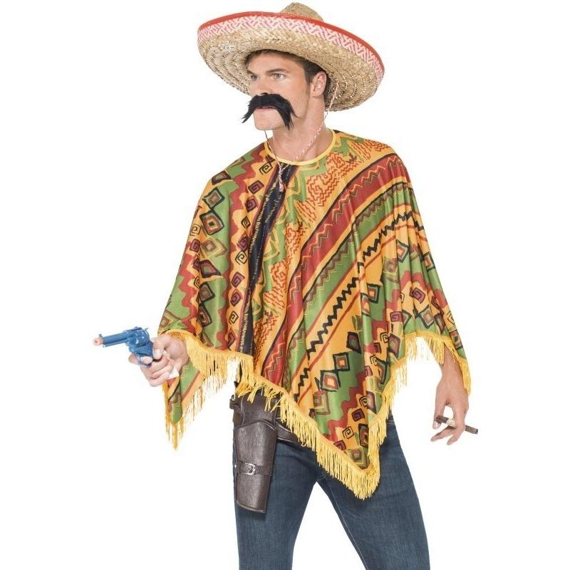 Mexicaanse verkleed poncho en snor voor heren