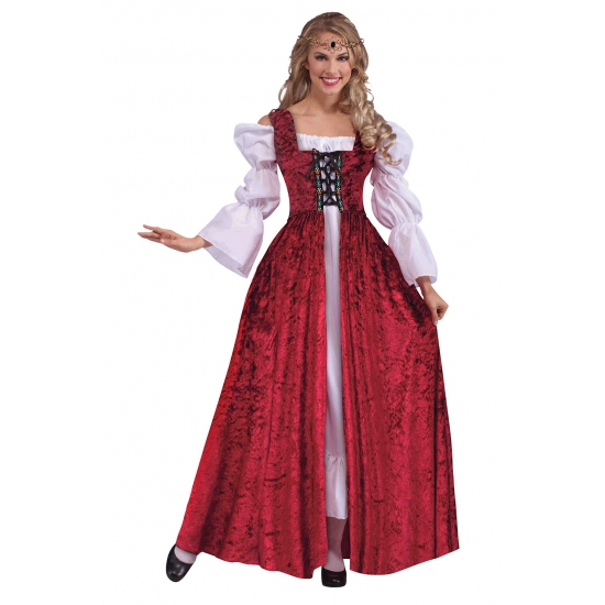 Middeleeuwse dames jurk rood