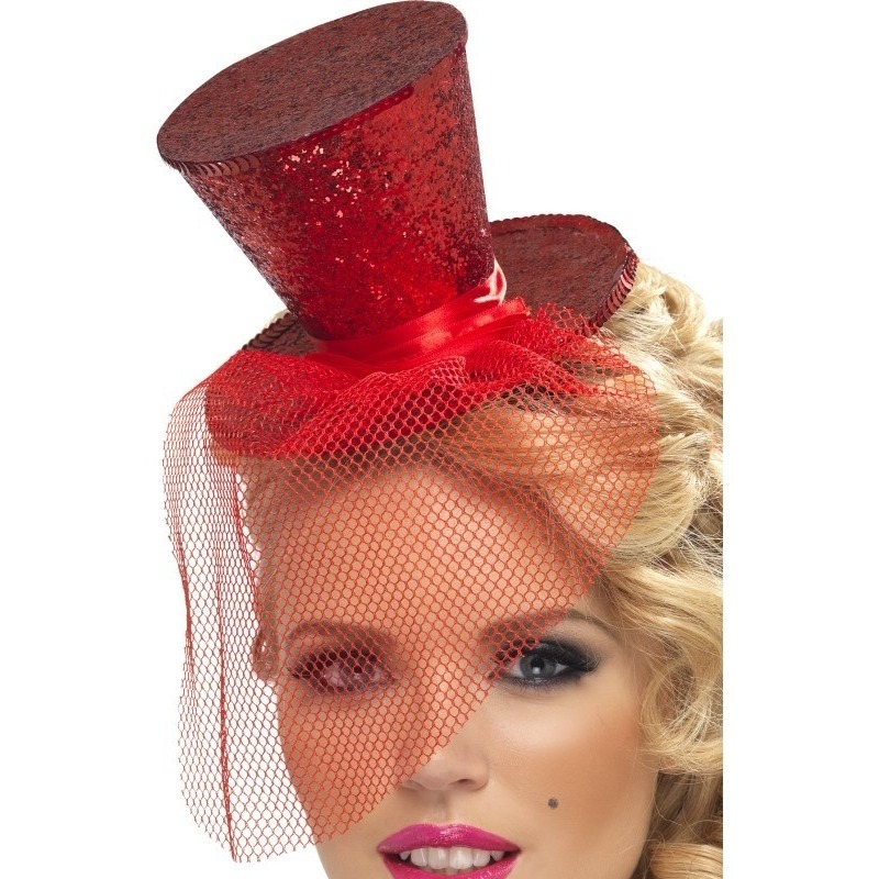 Mini rode hoge hoed op diadeem