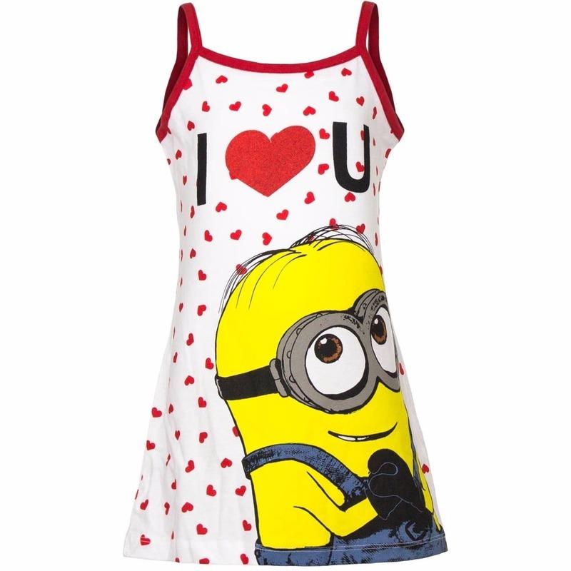 Minions jurkje wit-rood voor meisjes