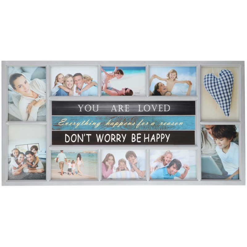 Multi witte fotolijst Be Happy 74 x 38 cm