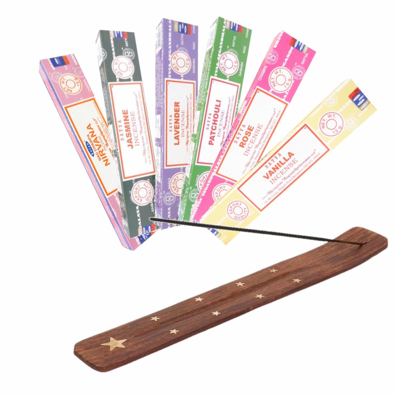 Nag Champa Wierrook geuren pakket van 6x verschillende geuren met een brander plankje