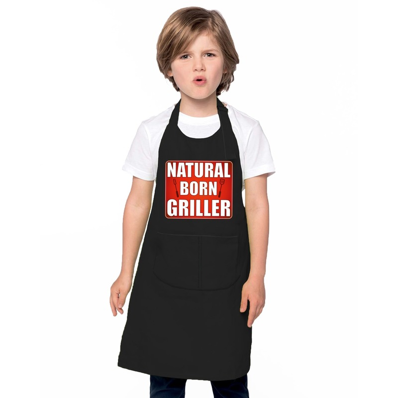 Natural born griller barbecueschort/ keukenschort zwart kindere
