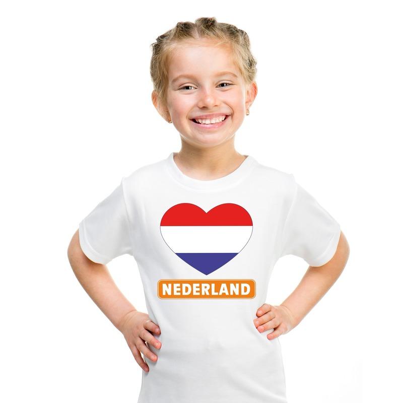 Nederland hart vlag t-shirt wit jongens en meisjes