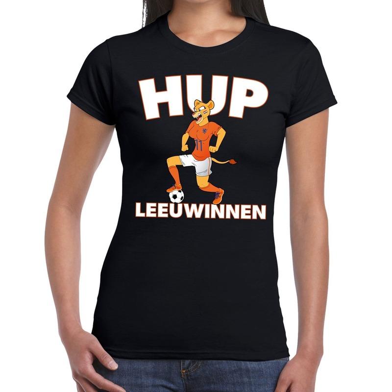 Nederland supporter t-shirt Hup Leeuwinnen zwart dames