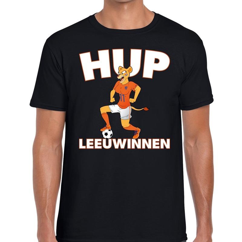 Nederland supporter t-shirt Hup Leeuwinnen zwart heren
