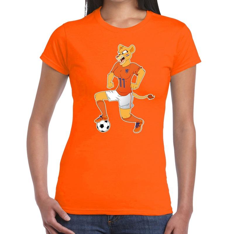 Nederland supporter t-shirt Leeuwin met voetbal oranje dames