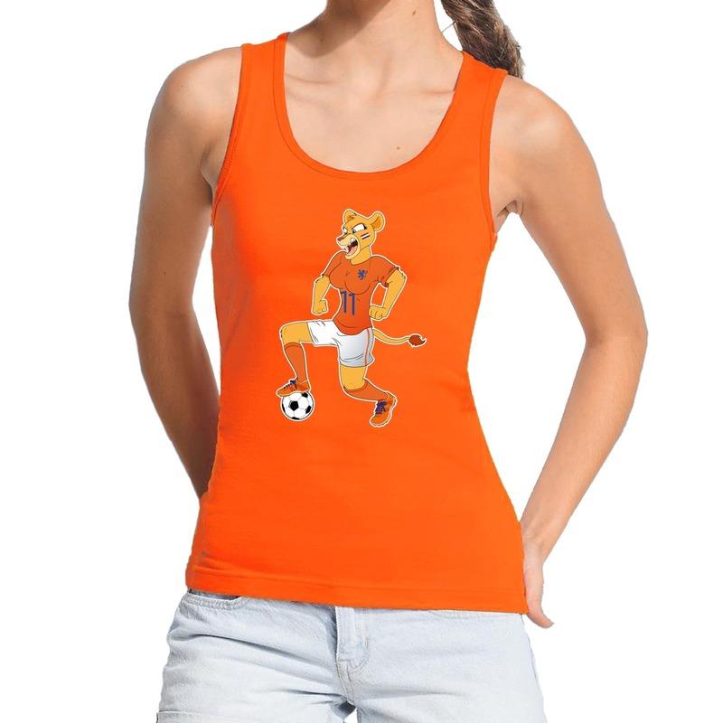 Nederland supporter tanktop Leeuwin met voetbal oranje dames