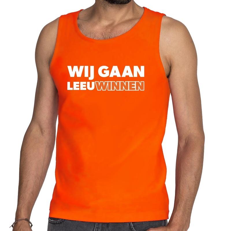 Nederland supporter tanktop Wij gaan Leeuwinnen oranje heren