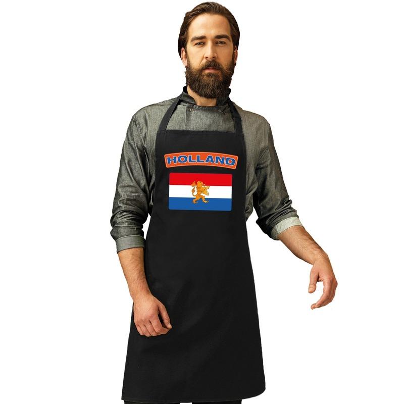 Nederland vlag barbecueschort/ keukenschort zwart volwassenen Zwart