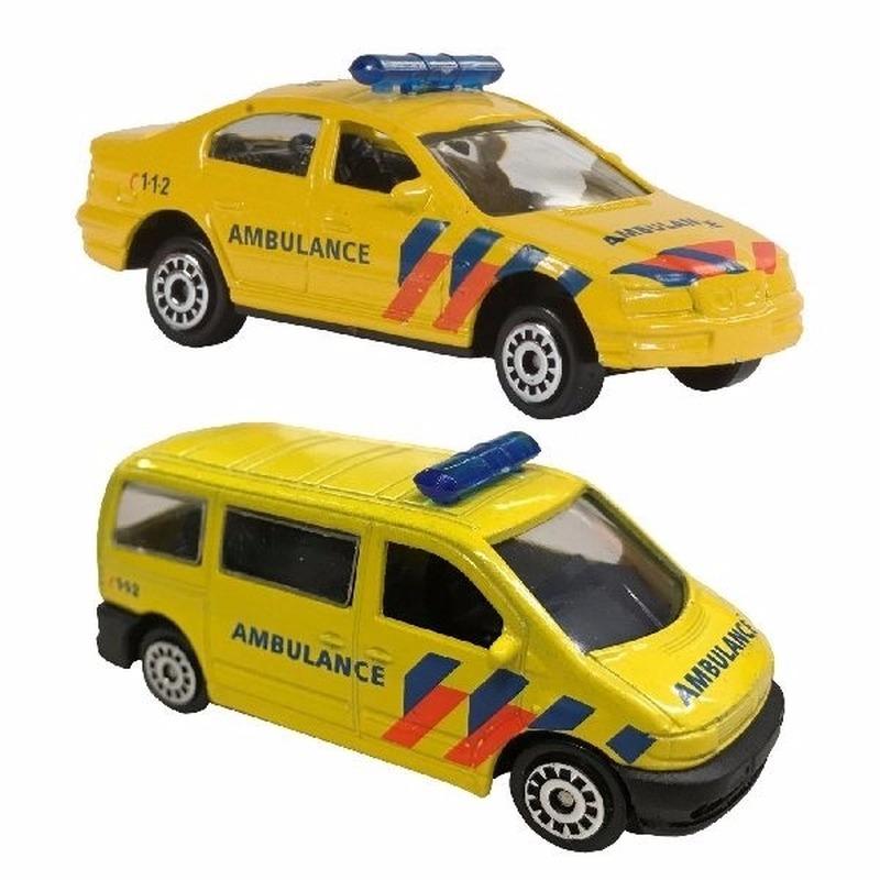Nederlandse ambulance speelgoed modelauto set 2-dlg