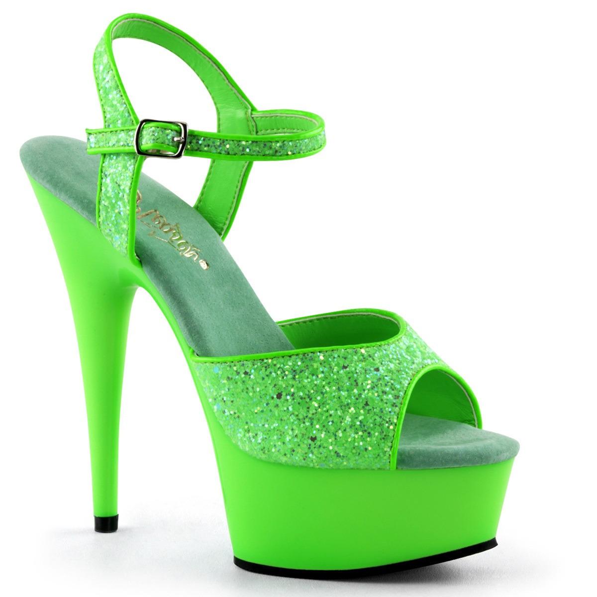 Neon groene glitter sandalen Caydence