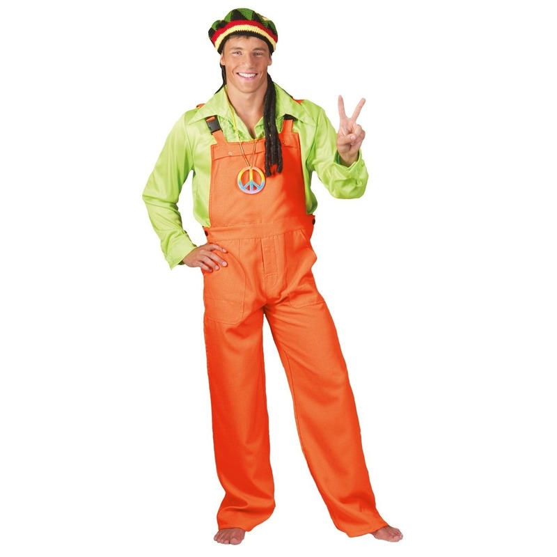 Neon oranje tuinbroek voor volwassenen