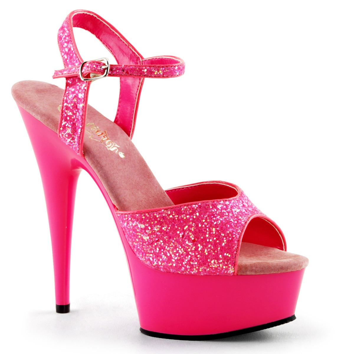 Neon roze glitter sandalen Caydence