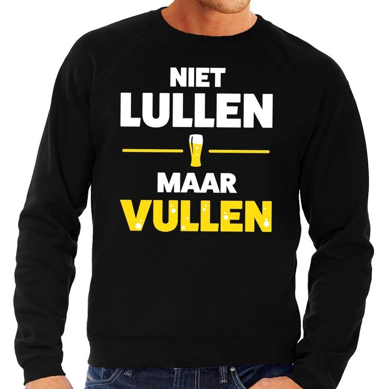 Niet lullen maar Vullen tekst sweater zwart voor heren