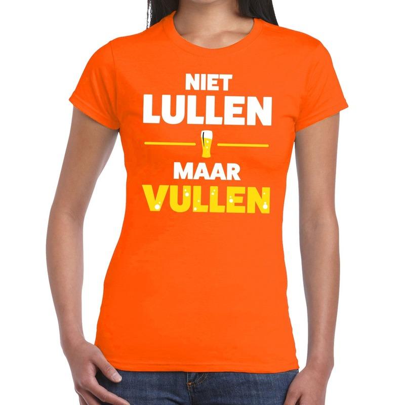 Niet Lullen maar Vullen tekst t-shirt oranje dames