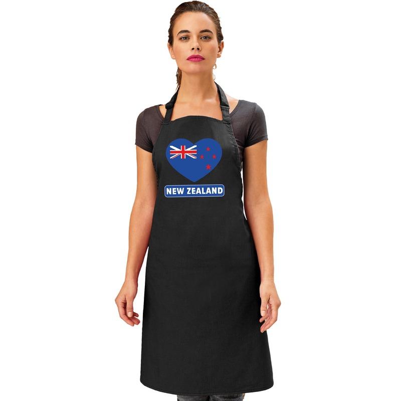 Nieuw-Zeeland hart vlag barbecueschort/ keukenschort zwart Zwart