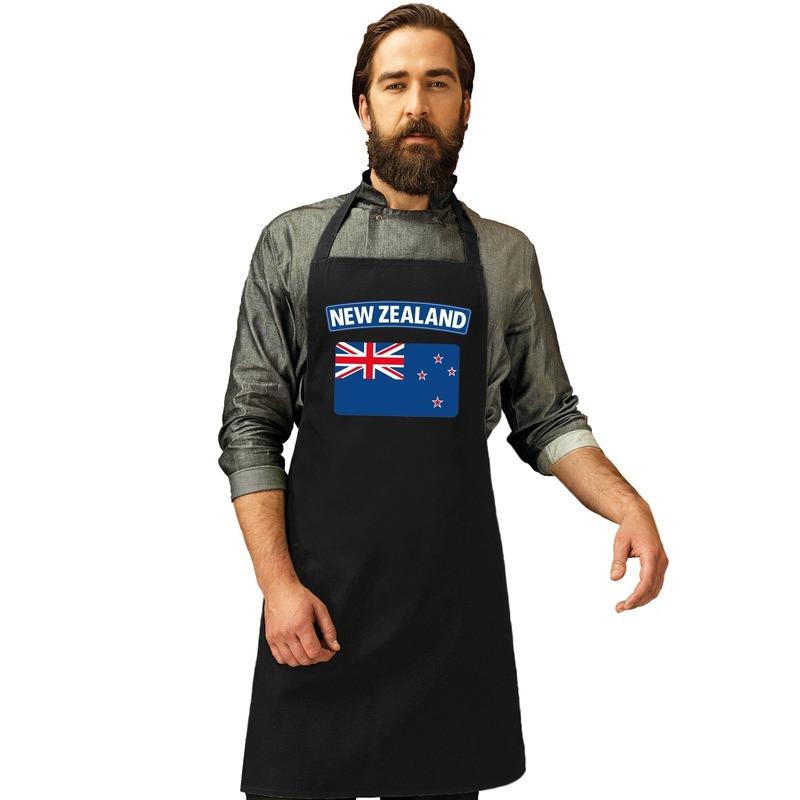 Nieuw-Zeeland vlag barbecueschort/ keukenschort zwart volwassene Zwart