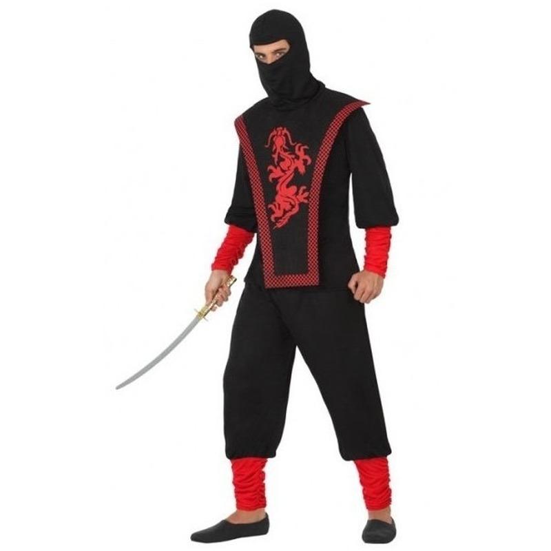 Ninja vechter verkleed kostuum zwart/rood voor heren