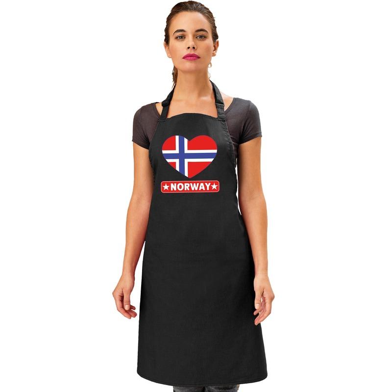 Noorwegen hart vlag barbecueschort/ keukenschort zwart Zwart