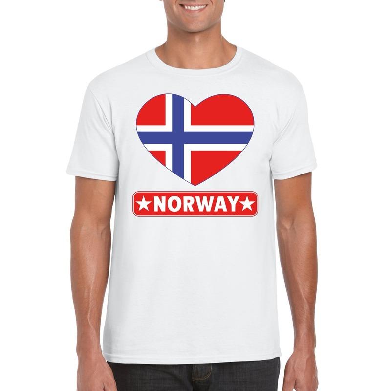 Noorwegen hart vlag t-shirt wit heren