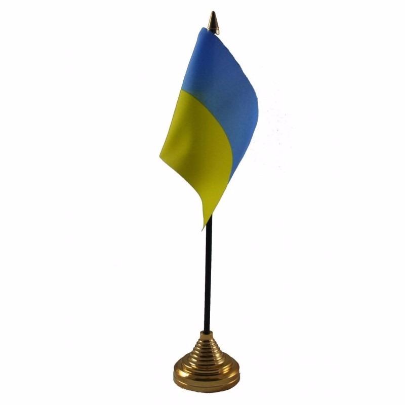 Oekraine tafelvlaggetje 10 x 15 cm met standaard