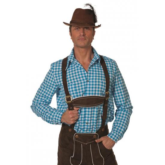 Oktoberfest - Blauw/witte Tiroler blouse lange mouw