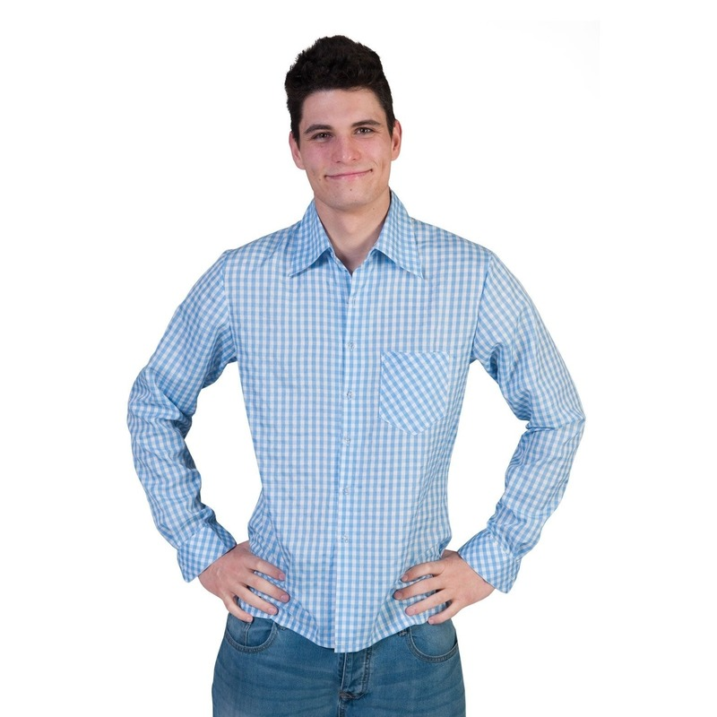 Oktoberfest - Blauwe geruite blouse voor heren