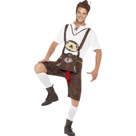Oktoberfest - Bruine funny Tiroler lederhosen kostuum/broek voor heren