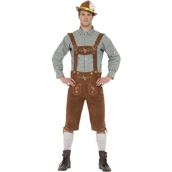 Oktoberfest - Bruine/groene Tiroler lederhosen kostuum met blouse voor heren