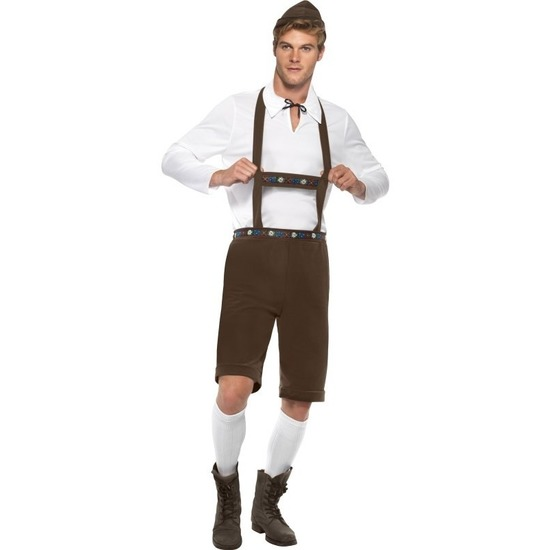Oktoberfest - Bruine lederhosen voor heren