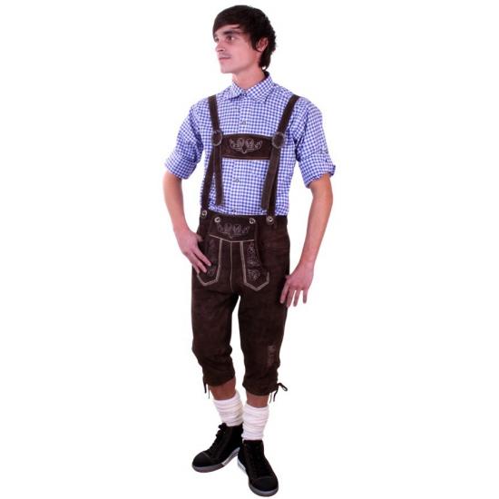 Oktoberfest - Bruine Tiroler lange lederhosen verkleed kostuum voor heren