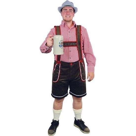 Oktoberfest - Bruine Tiroler lederhosen verkleed kostuum/broek voor heren