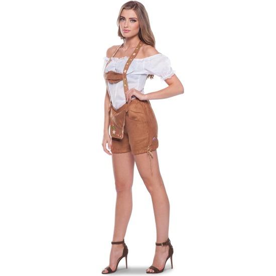 Oktoberfest - Bruine Tiroler lederhosen verkleed kostuum/broekje voor dames