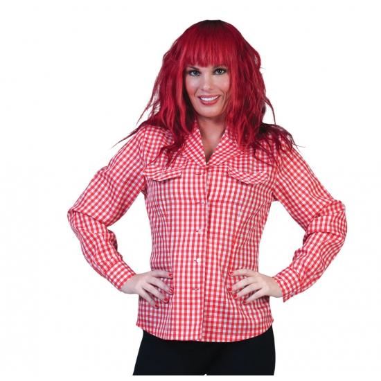Oktoberfest - Dames Tiroler overhem/blouse d rood/wit
