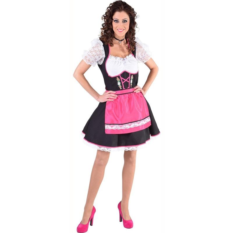 Oktoberfest - Dirndl jurk zwart/wit met fuchsia roze schort voor dames