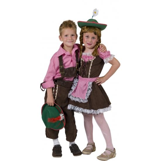 Oktoberfest - Geruit overhemd voor kinderen roze