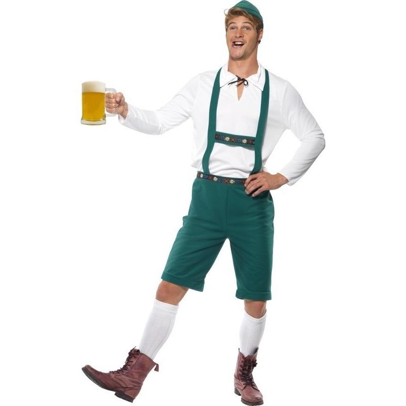 Oktoberfest - Groene Oktoberfest lederhosen voor heren